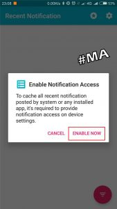 Enable Now Aplikasi Recent Notification