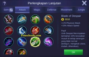 Build Gear Irithel Mobile Legends 6