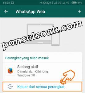 Keluar dari semua perangkat whatsapp web 3