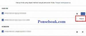 Menghapus Riwayat Pencarian Facebook Melalui PC 3