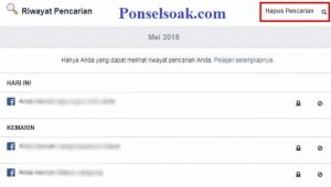 Menghapus Riwayat Pencarian Facebook Melalui PC 5