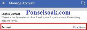 Menutup Akun Facebook Sementara Melalui Android 8