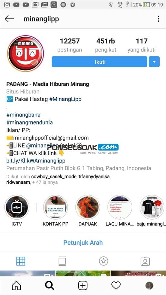 Contoh Bio Instagram Akun Publik