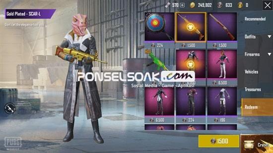 Skin Senjata Scar-L Gold Plated Gratis