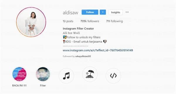 Akun Instagram Aldisaw Content Creator