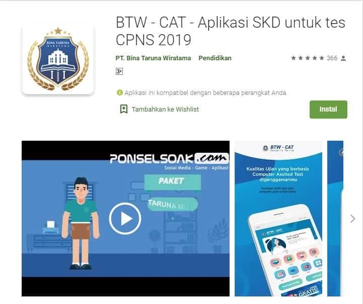 BTW Cat Aplikasi SKD untuk Tes CPNS 2019 Online