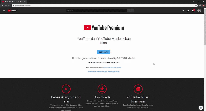 Cara Berlangganan YouTube Premium Gratis 2