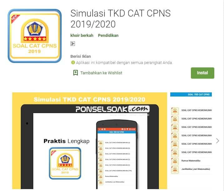 Simulasi TKD Cat CPNS 2019 2020